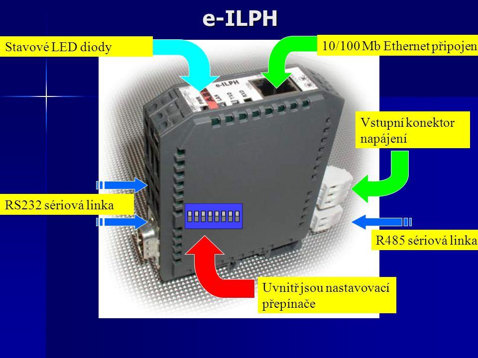 e-ILPH R485 sériová linka RS232 sériová linka Vstupní konektor napájení 10/100 Mb Ethernet připojení Uvnitř jsou nastavovací přepínače Stavové LED dio