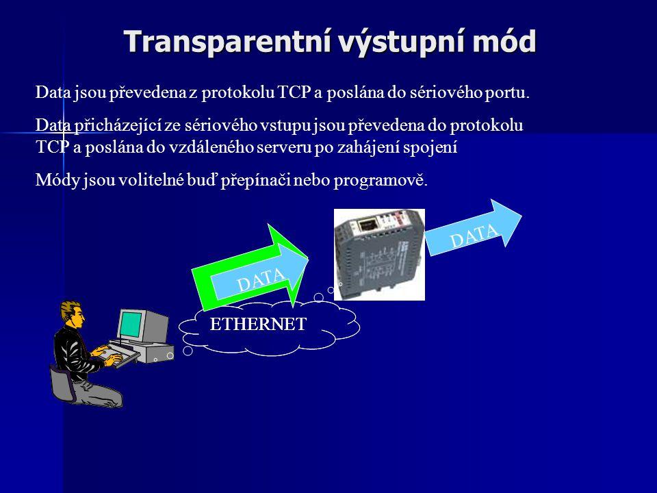 Transparentní výstupní mód ETHERNET DATA Data jsou převedena z protokolu TCP a poslána do sériového portu. Data přicházející ze sériového vstupu jsou