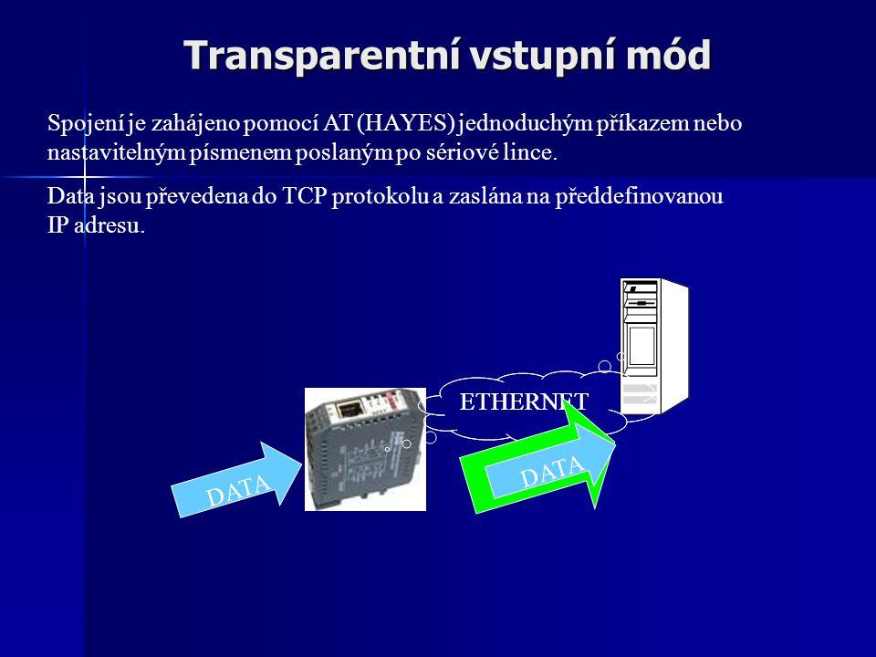 Transparentní vstupní mód ETHERNET DATA Spojení je zahájeno pomocí AT (HAYES) jednoduchým příkazem nebo nastavitelným písmenem poslaným po sériové lince.