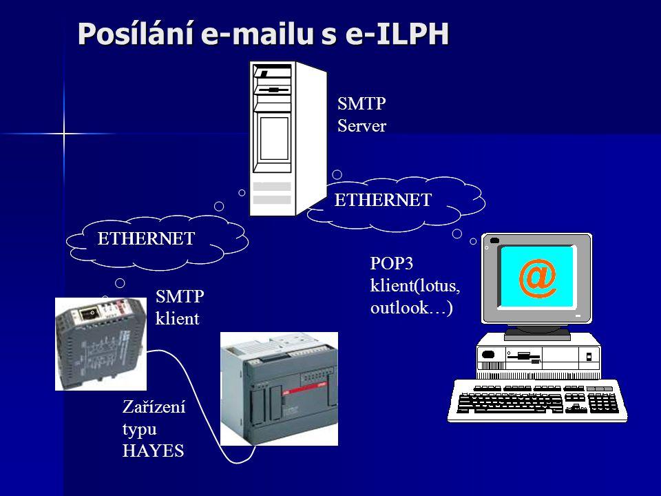 Posílání e-mailu s e-ILPH ETHERNET SMTP Server SMTP klient POP3 klient(lotus, outlook…) Zařízení typu HAYES