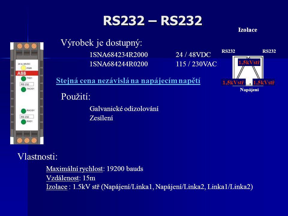 RS232 – RS232 Vlastnosti: Maximální rychlost: 19200 bauds Vzdálenost: 15m Izolace : 1.5kV stř (Napájení/Linka1, Napájení/Linka2, Linka1/Linka2) Použití: Galvanické odizolování Zesílení Výrobek je dostupný: 1SNA684234R2000 24 / 48VDC 1SNA684244R0200 115 / 230VAC Izolace 1,5kVstř RS232 1,5kVstř RS232 Napájení Stejná cena nezávislá na napájecím napětí