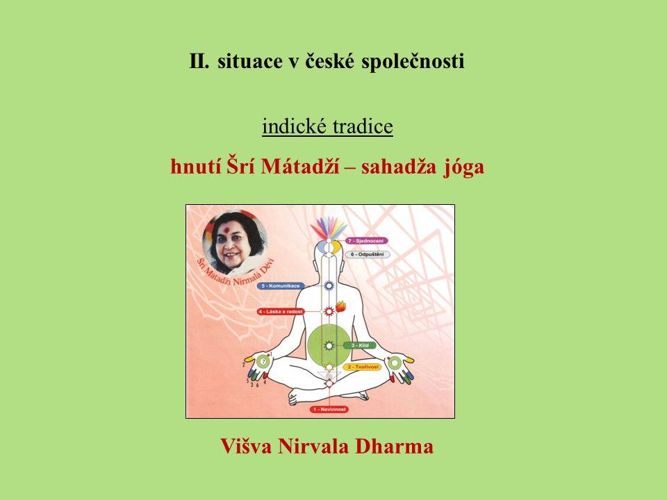 indické tradice hnutí Šrí Mátadží – sahadža jóga Višva Nirvala Dharma II.