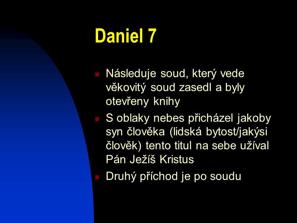 Daniel 7 Následuje soud, který vede věkovitý soud zasedl a byly otevřeny knihy S oblaky nebes přicházel jakoby syn člověka (lidská bytost/jakýsi člově