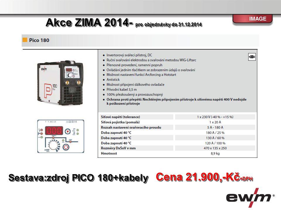 Sestava: zdroj TETRIX 230 AC/DC TMD,chlazení, hořák TIG 260 U/D HFL 4m, zemnící kabel,,plynová hadice Cena 68.900,-Kč +DPH Akce ZIMA 2014- pro objednávky do 31.12.2014
