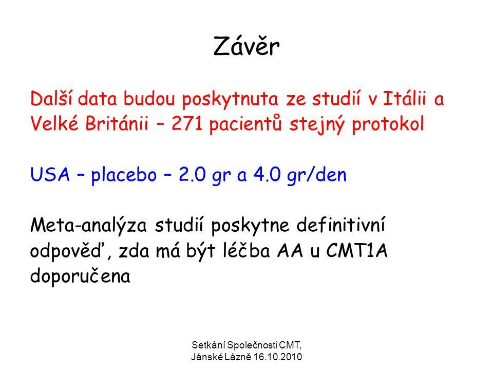 Setkání Společnosti CMT, Jánské Lázně 16.10.2010 Závěr Další data budou poskytnuta ze studií v Itálii a Velké Británii – 271 pacientů stejný protokol