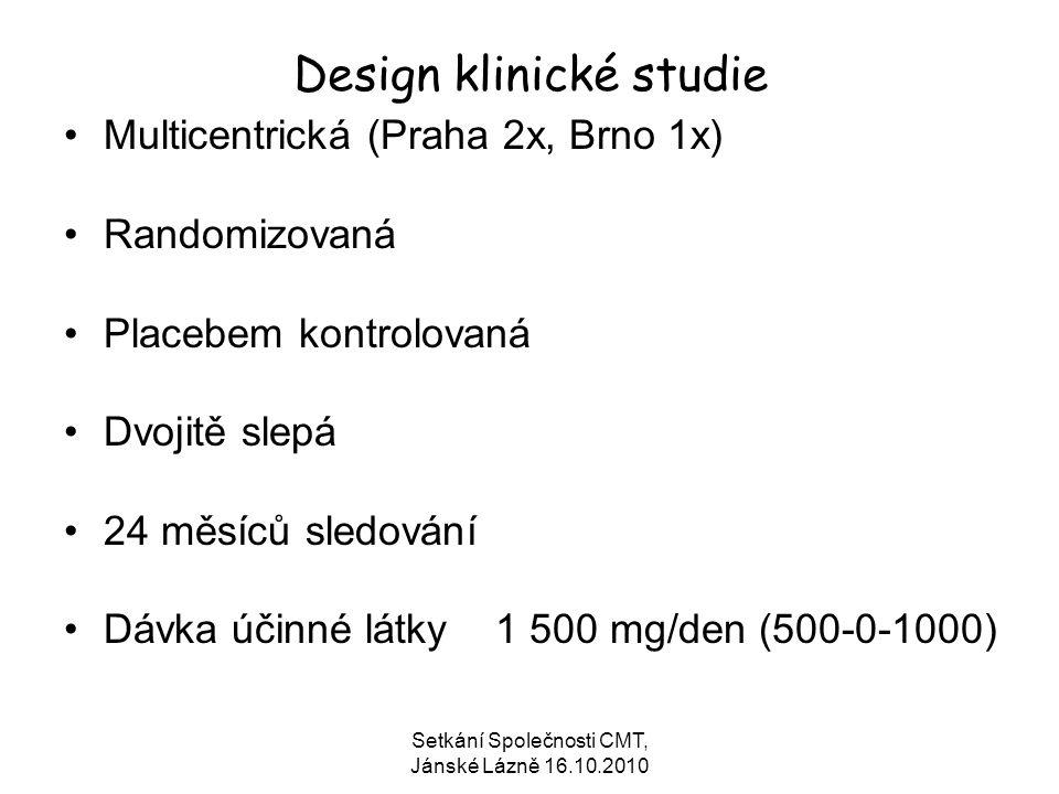 Setkání Společnosti CMT, Jánské Lázně 16.10.2010 Design klinické studie Multicentrická (Praha 2x, Brno 1x) Randomizovaná Placebem kontrolovaná Dvojitě