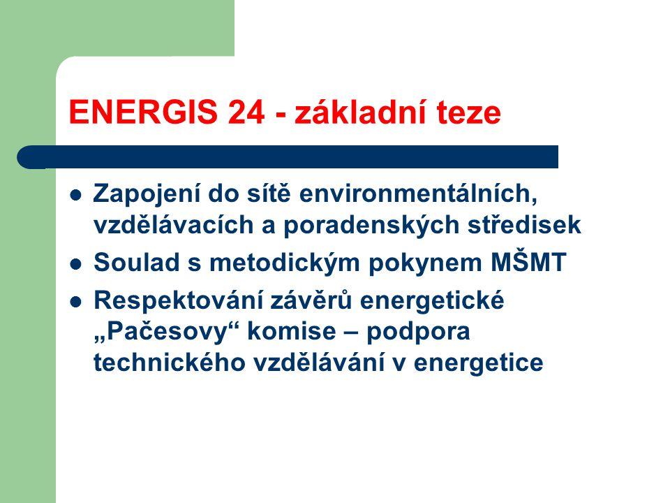 """ENERGIS 24 - základní teze Zapojení do sítě environmentálních, vzdělávacích a poradenských středisek Soulad s metodickým pokynem MŠMT Respektování závěrů energetické """"Pačesovy komise – podpora technického vzdělávání v energetice"""