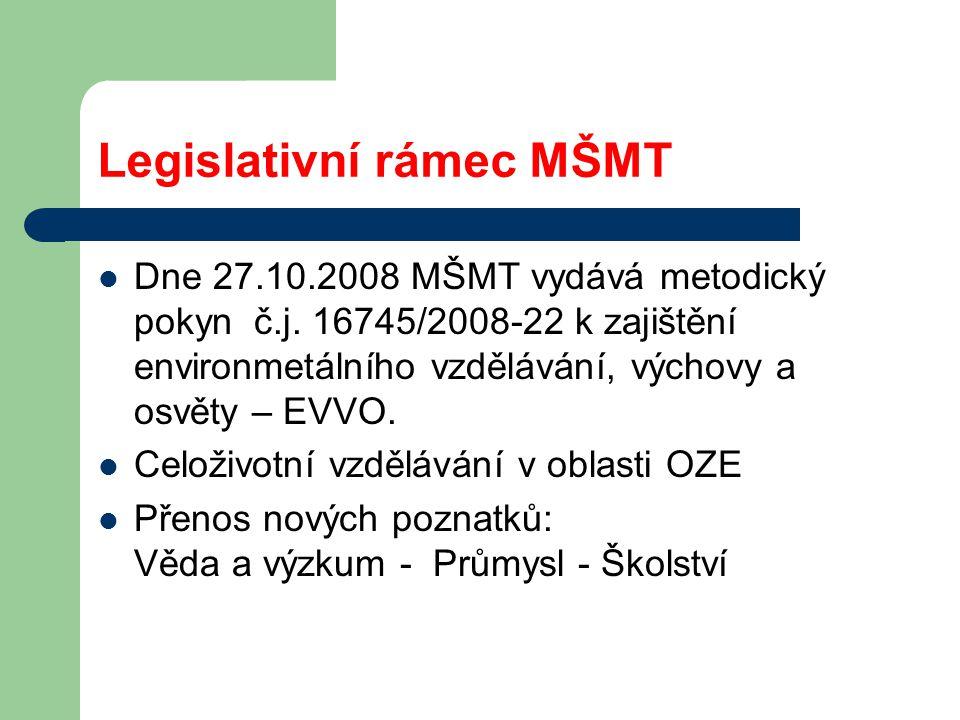 Legislativní rámec MŠMT Dne 27.10.2008 MŠMT vydává metodický pokyn č.j.