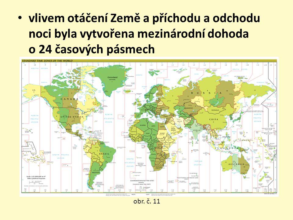 vlivem otáčení Země a příchodu a odchodu noci byla vytvořena mezinárodní dohoda o 24 časových pásmech obr. č. 11