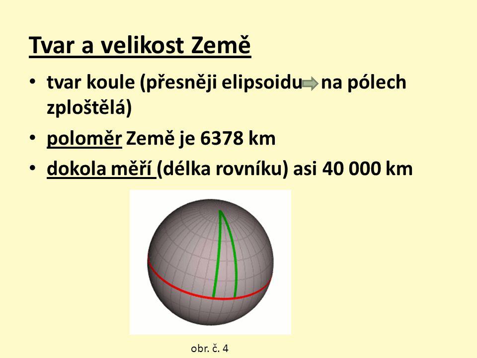 Tvar a velikost Země tvar koule (přesněji elipsoidu na pólech zploštělá) poloměr Země je 6378 km dokola měří (délka rovníku) asi 40 000 km obr. č. 4