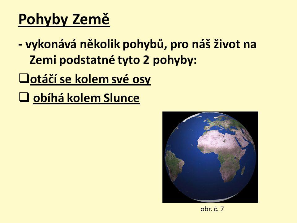 Pohyby Země - vykonává několik pohybů, pro náš život na Zemi podstatné tyto 2 pohyby:  otáčí se kolem své osy  obíhá kolem Slunce obr. č. 7