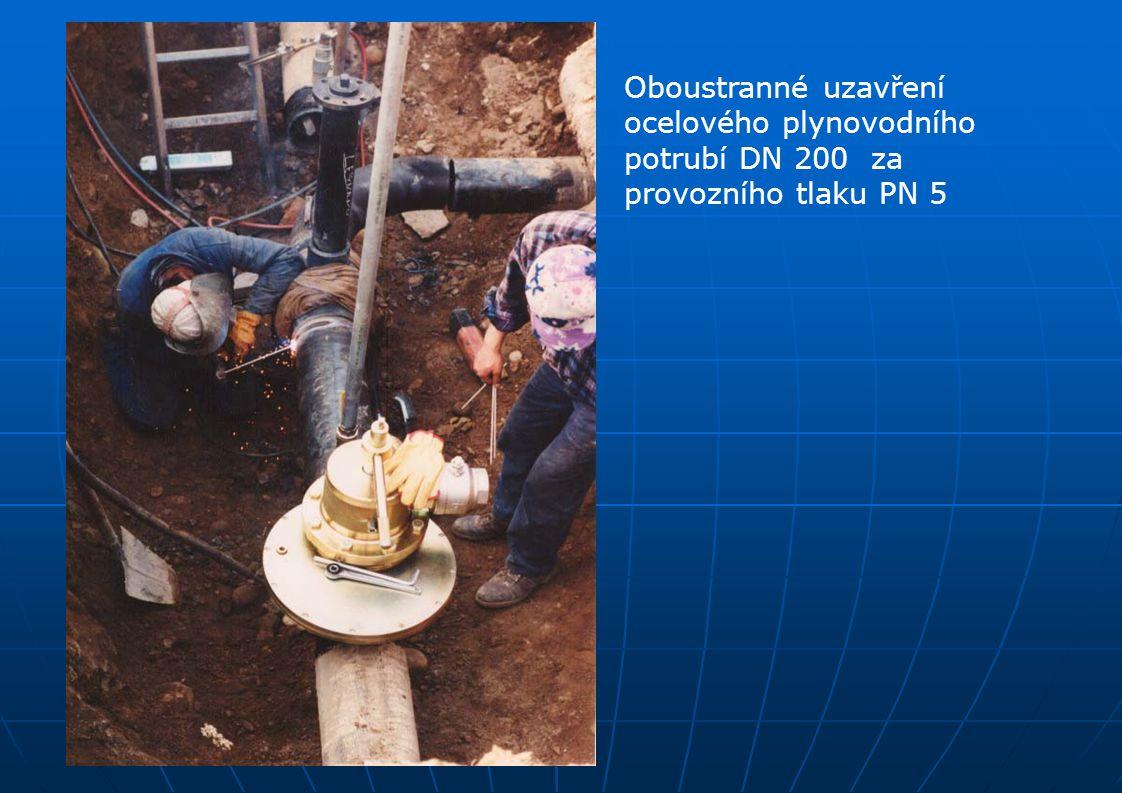 Oboustranné uzavření ocelového plynovodního potrubí DN 200 za provozního tlaku PN 5