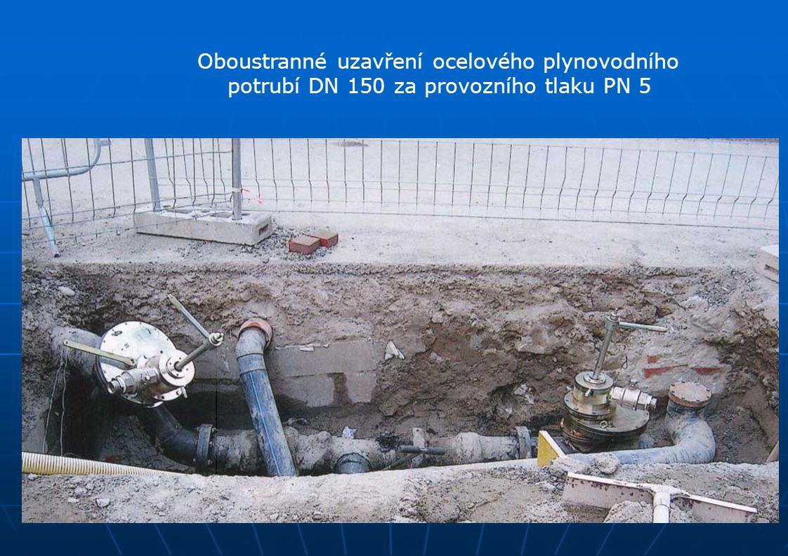 Oboustranné uzavření ocelového plynovodního potrubí DN 150 za provozního tlaku PN 5