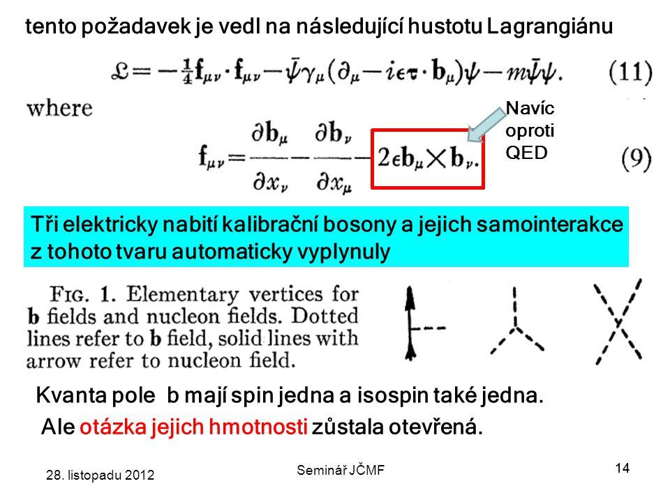 Tři elektricky nabití kalibrační bosony a jejich samointerakce z tohoto tvaru automaticky vyplynuly tento požadavek je vedl na následující hustotu Lagrangiánu 14 Kvanta pole b mají spin jedna a isospin také jedna.