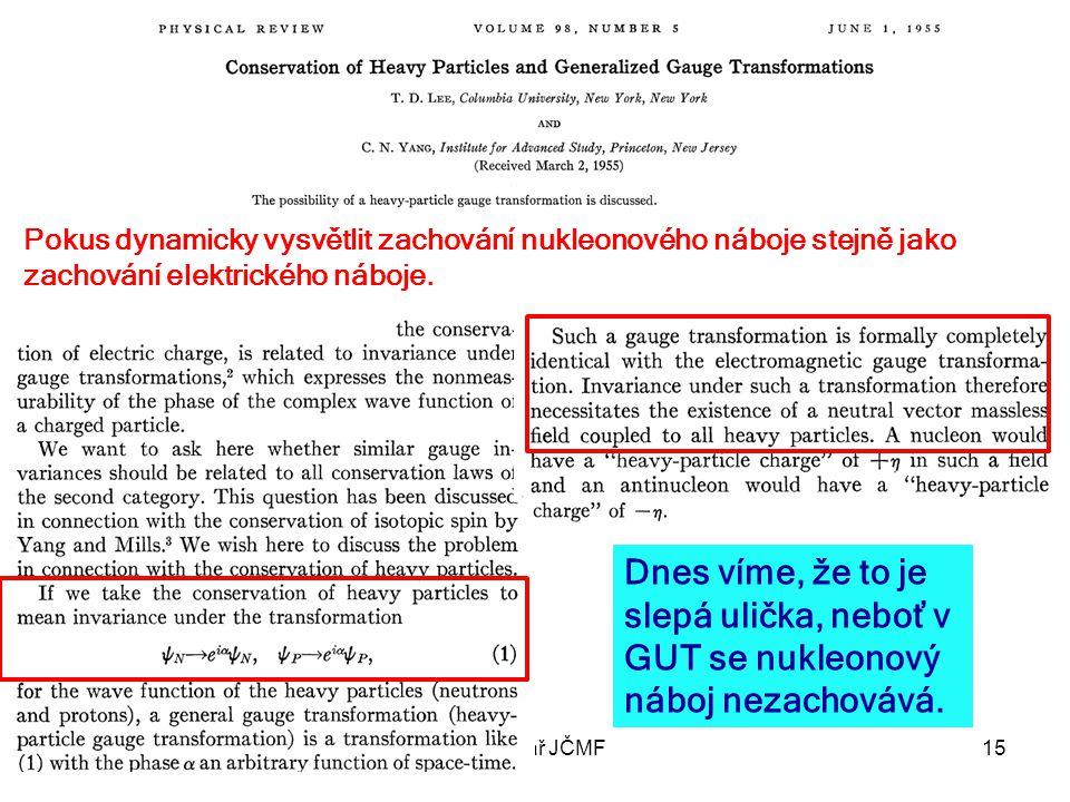 28. listopadu 2012Seminář JČMF15 Pokus dynamicky vysvětlit zachování nukleonového náboje stejně jako zachování elektrického náboje. Dnes víme, že to j