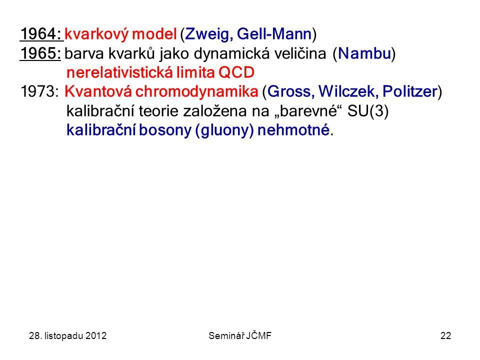 28. listopadu 2012Seminář JČMF22 1964: kvarkový model (Zweig, Gell-Mann) 1965: barva kvarků jako dynamická veličina (Nambu) nerelativistická limita QC