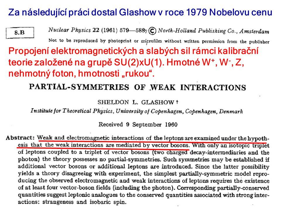 28. listopadu 2012Seminář JČMF25 Za následující práci dostal Glashow v roce 1979 Nobelovu cenu Propojení elektromagnetických a slabých sil rámci kalib
