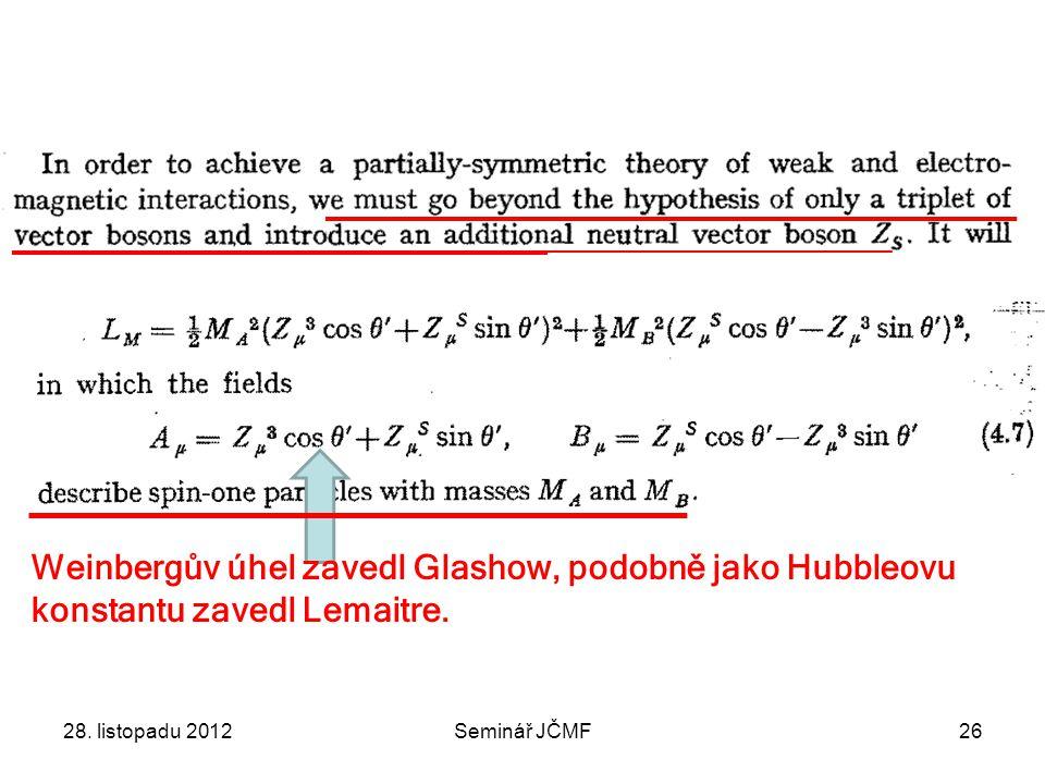 28. listopadu 2012Seminář JČMF26 Weinbergův úhel zavedl Glashow, podobně jako Hubbleovu konstantu zavedl Lemaitre.