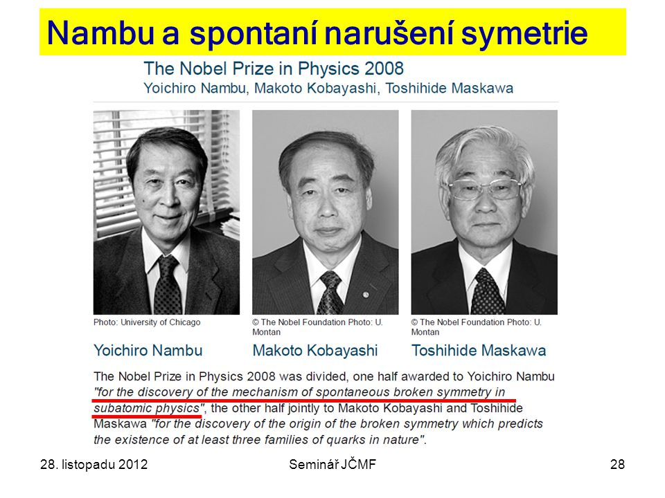 28 Nambu a spontaní narušení symetrie 28. listopadu 2012Seminář JČMF