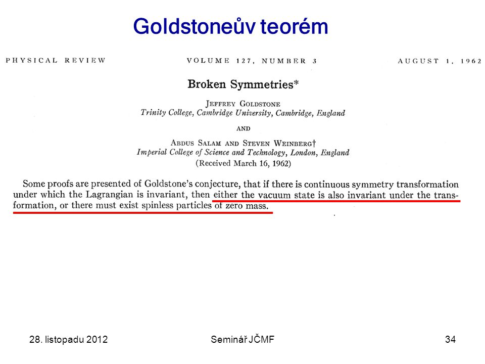 28. listopadu 2012Seminář JČMF34 Goldstoneův teorém