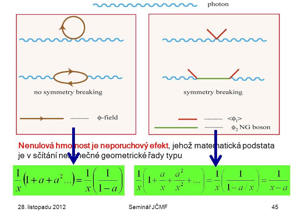 28. listopadu 2012Seminář JČMF45 Nenulová hmotnost je neporuchový efekt, jehož matematická podstata je v sčítání nekonečné geometrické řady typu