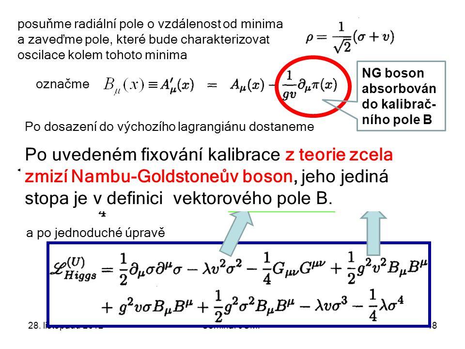 28. listopadu 2012Seminář JČMF48 posuňme radiální pole o vzdálenost od minima a zaveďme pole, které bude charakterizovat oscilace kolem tohoto minima