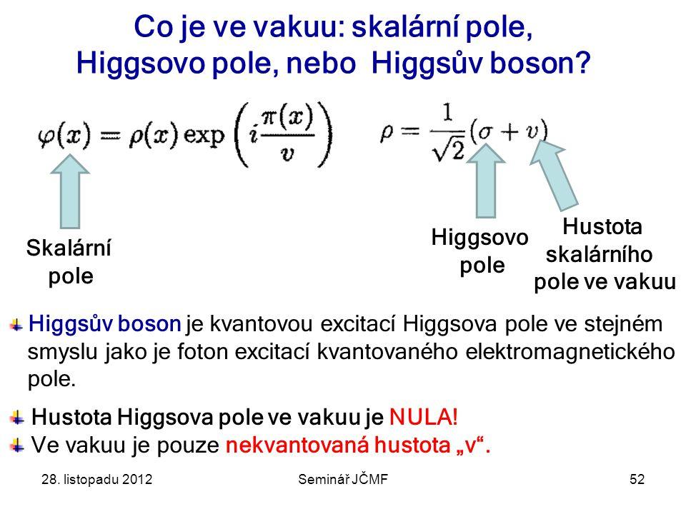 28.listopadu 2012Seminář JČMF52 Co je ve vakuu: skalární pole, Higgsovo pole, nebo Higgsův boson.