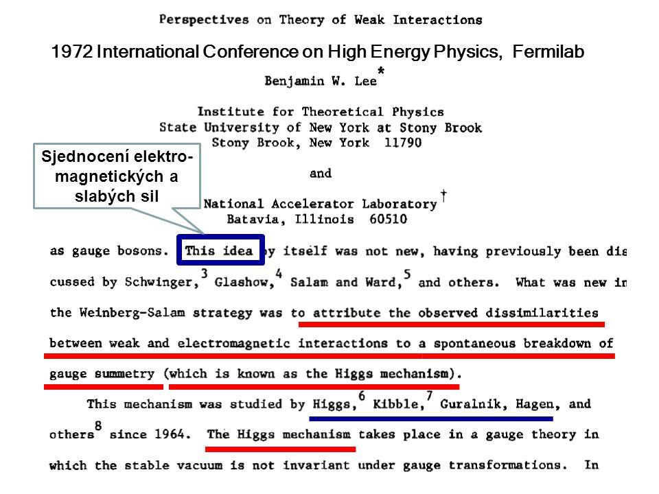 28. listopadu 2012Seminář JČMF61 1972 International Conference on High Energy Physics, Fermilab Sjednocení elektro- magnetických a slabých sil