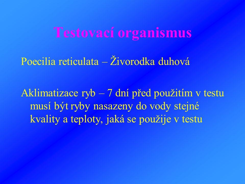 Testovací organismus Poecilia reticulata – Živorodka duhová Aklimatizace ryb – 7 dní před použitím v testu musí být ryby nasazeny do vody stejné kvali