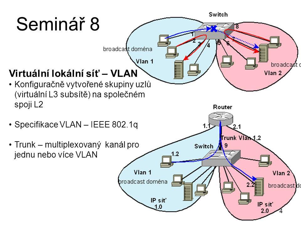 """5 Seminář 8 Formát Ethernet rámce IEEE 802.1q – """"tágovaný rámec VLAN ID 1 - 4095"""