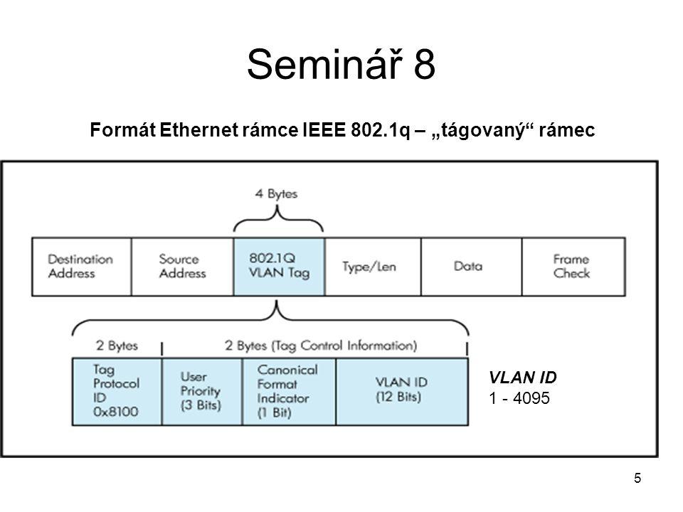 16 Seminář 8 PC Router commands #interface eth0, vlan 10 a vlan 20 modprobe 8021q vconfig set_name_type VLAN_PLUS_VID ifconfig eth0 10.0.0.2/24 up vconfig add eth0 10 vconfig add eth0 20 ifconfig vlan10 192.168.2.254/24 up ifconfig vlan20 192.168.3.254/24 up