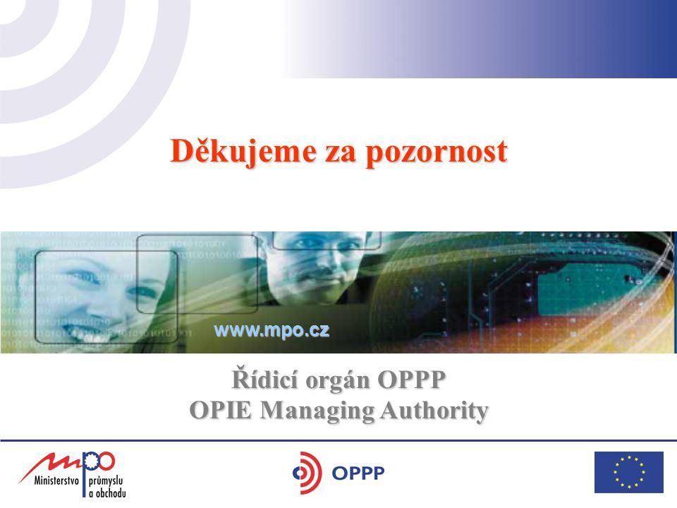 Děkujeme za pozornost Řídicí orgán OPPP OPIE Managing Authority www.mpo.cz