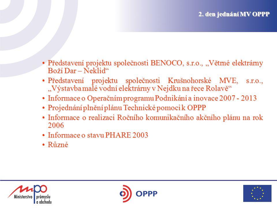 """2. den jednání MV OPPP Představení projektu společnosti BENOCO, s.r.o., """"Větrné elektrárny Boží Dar – Neklid""""Představení projektu společnosti BENOCO,"""
