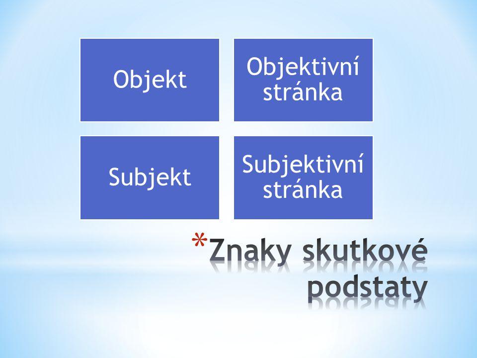 Objekt Objektivní stránka Subjekt Subjektivní stránka
