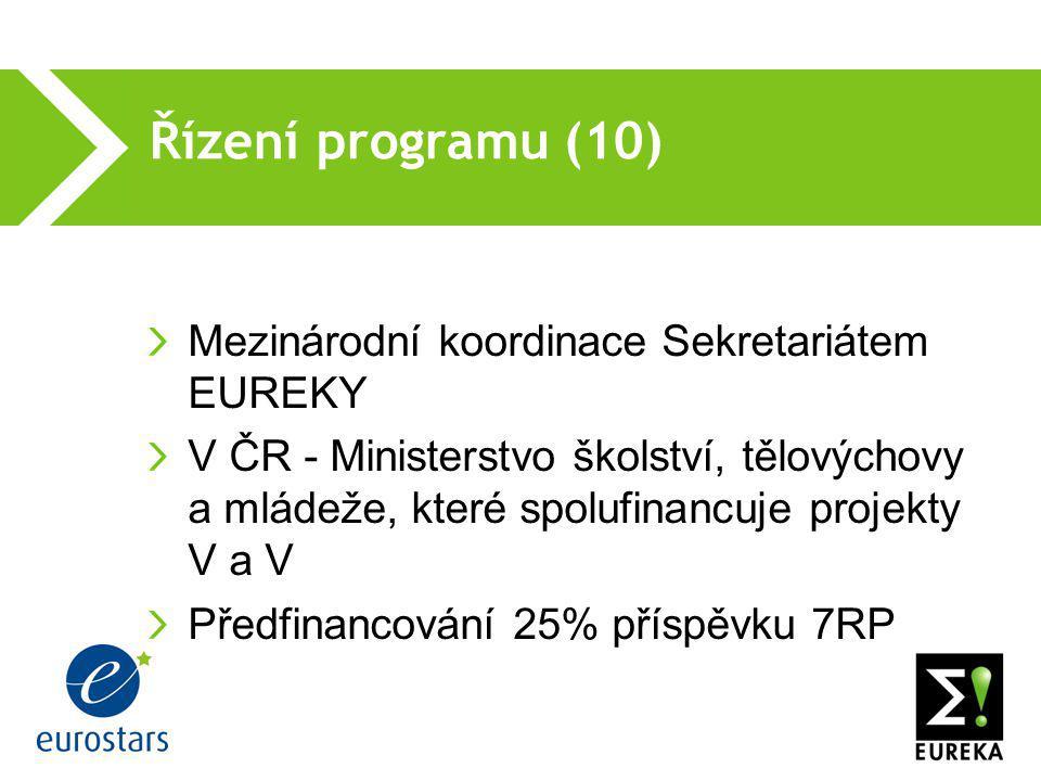 Řízení programu (10)  Mezinárodní koordinace Sekretariátem EUREKY V ČR - Ministerstvo školství, tělovýchovy a mládeže, které spolufinancuje projekty