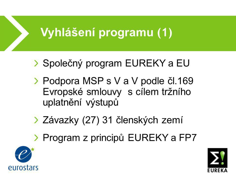Vyhlášení programu (1)  Společný program EUREKY a EU Podpora MSP s V a V podle čl.169 Evropské smlouvy s cílem tržního uplatnění výstupů Závazky (27)