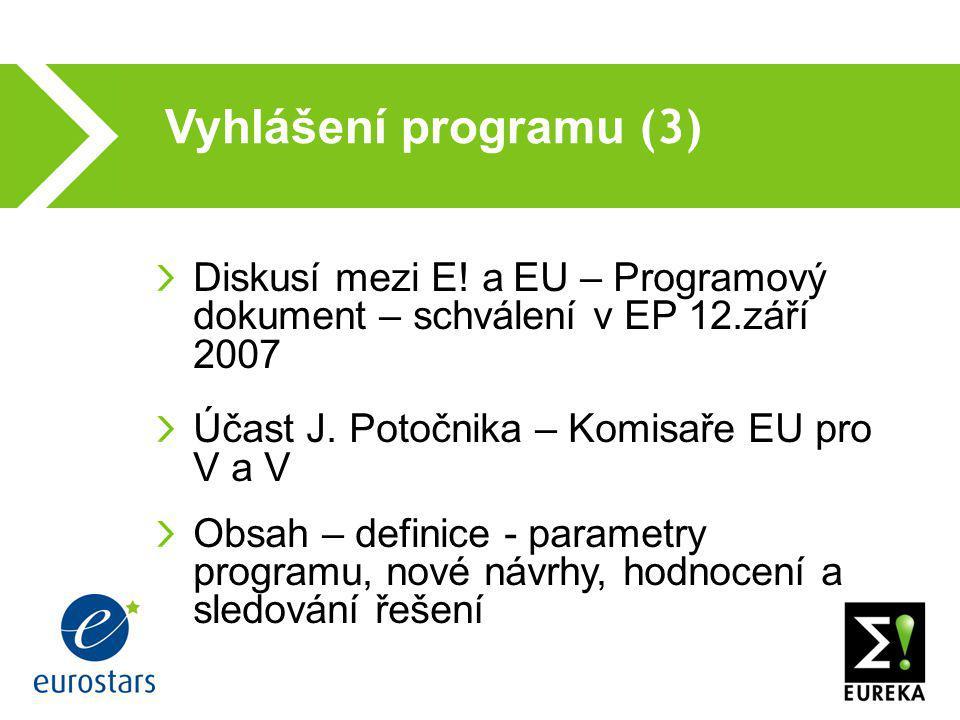 Vyhlášení programu (3)  Diskusí mezi E! a EU – Programový dokument – schválení v EP 12.září 2007 Účast J. Potočnika – Komisaře EU pro V a V Obsah – d