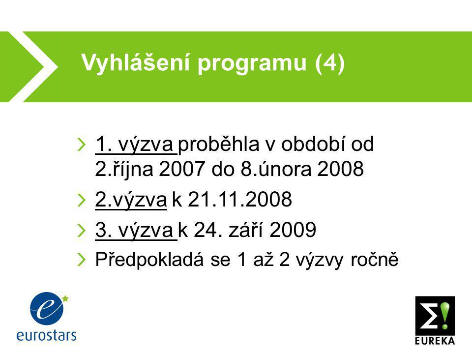 Vyhlášení programu (4)  1. výzva proběhla v období od 2.října 2007 do 8.února 2008 2.výzva k 21.11.2008 3. výzva k 24. září 2009 Předpokladá se 1 až