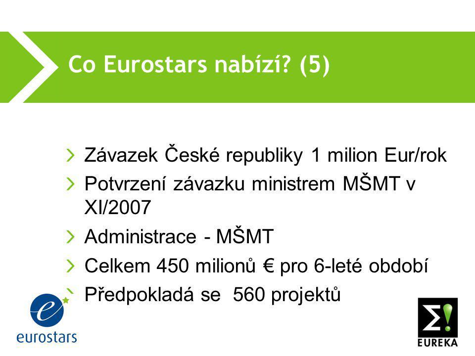 Co Eurostars nabízí? (5)  Závazek České republiky 1 milion Eur/rok Potvrzení závazku ministrem MŠMT v XI/2007 Administrace - MŠMT Celkem 450 milionů