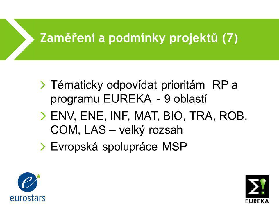Zaměření a podmínky projektů (7)  Tématicky odpovídat prioritám RP a programu EUREKA - 9 oblastí ENV, ENE, INF, MAT, BIO, TRA, ROB, COM, LAS – velký