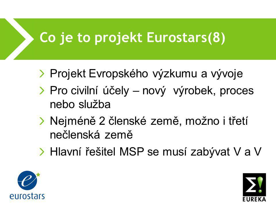 Co je to projekt Eurostars(8)  Projekt Evropského výzkumu a vývoje Pro civilní účely – nový výrobek, proces nebo služba Nejméně 2 členské země, možno