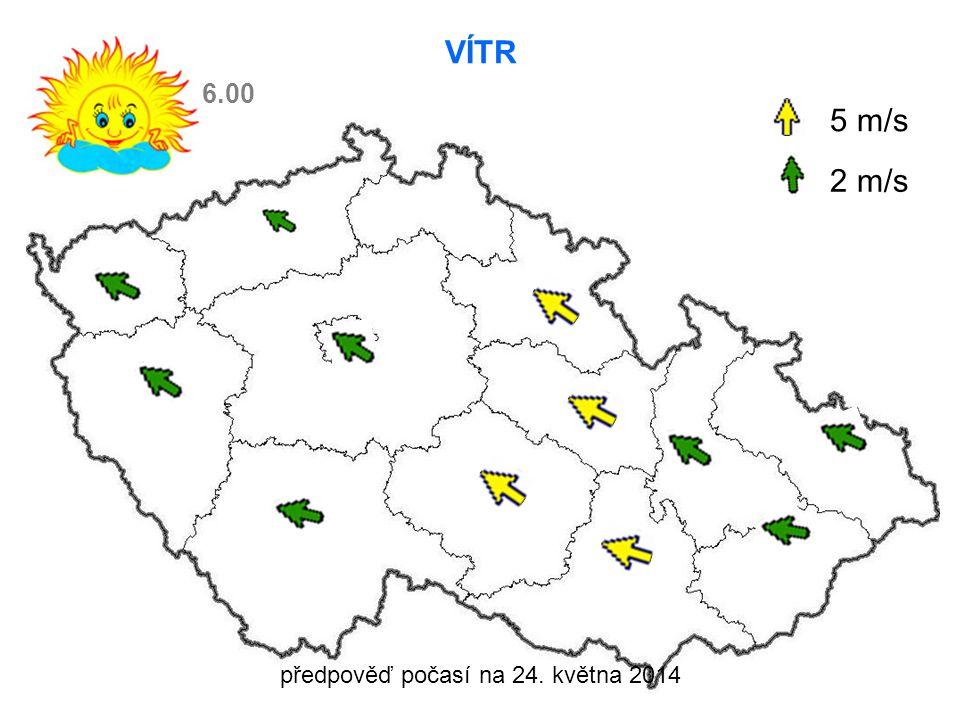 předpověď počasí na 24. května 2014 VÍTR 5 m/s 2 m/s 6.00