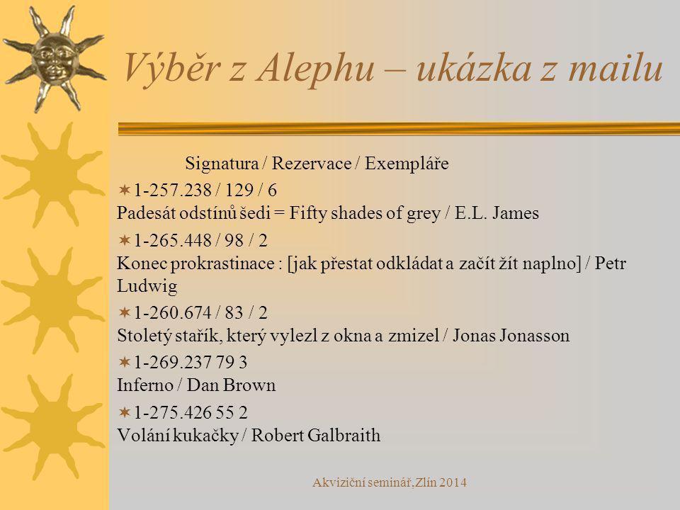 Výběr z Alephu – ukázka z mailu Signatura / Rezervace / Exempláře  1-257.238 / 129 / 6 Padesát odstínů šedi = Fifty shades of grey / E.L. James  1-2