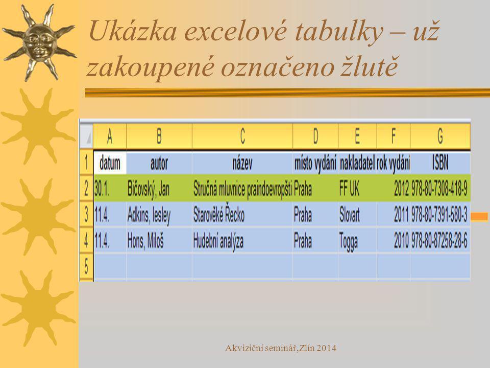 Akviziční seminář,Zlín 2014 Ukázka excelové tabulky – už zakoupené označeno žlutě