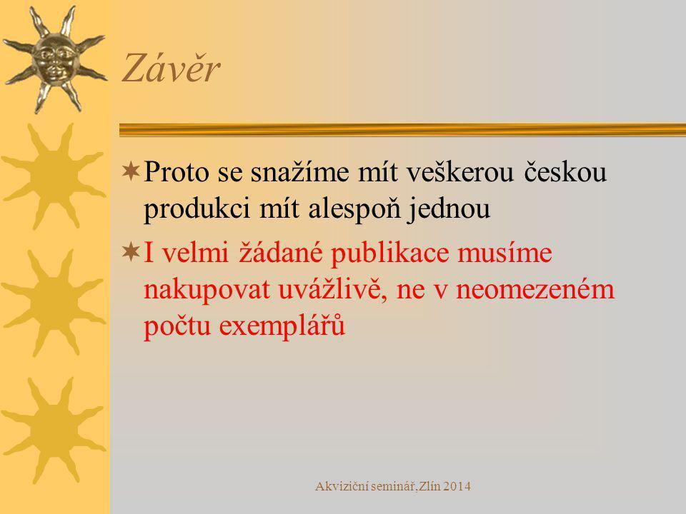 Závěr  Proto se snažíme mít veškerou českou produkci mít alespoň jednou  I velmi žádané publikace musíme nakupovat uvážlivě, ne v neomezeném počtu e
