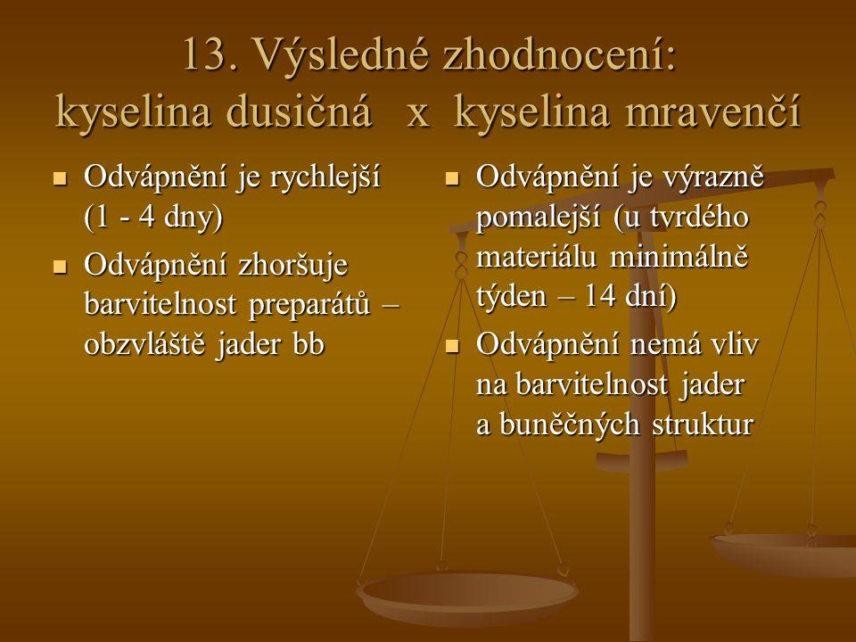 13. Výsledné zhodnocení: kyselina dusičná x kyselina mravenčí Odvápnění je rychlejší (1 - 4 dny) Odvápnění je rychlejší (1 - 4 dny) Odvápnění zhoršuje