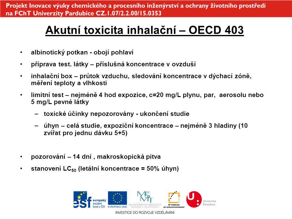 Akutní toxicita inhalační – OECD 403 albinotický potkan - obojí pohlaví příprava test. látky – příslušná koncentrace v ovzduší inhalační box – průtok