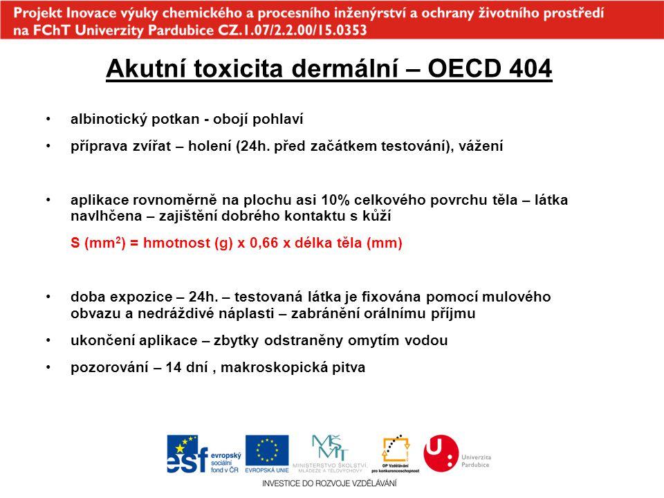 Akutní toxicita dermální – OECD 404 albinotický potkan - obojí pohlaví příprava zvířat – holení (24h. před začátkem testování), vážení aplikace rovnom
