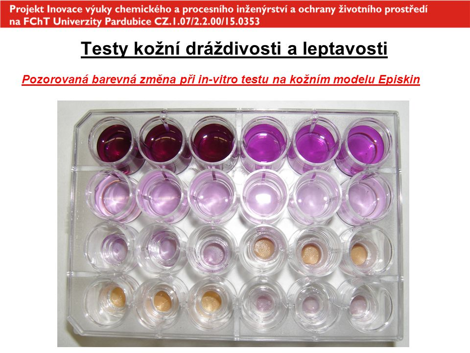 Testy kožní dráždivosti a leptavosti Pozorovaná barevná změna při in-vitro testu na kožním modelu Episkin