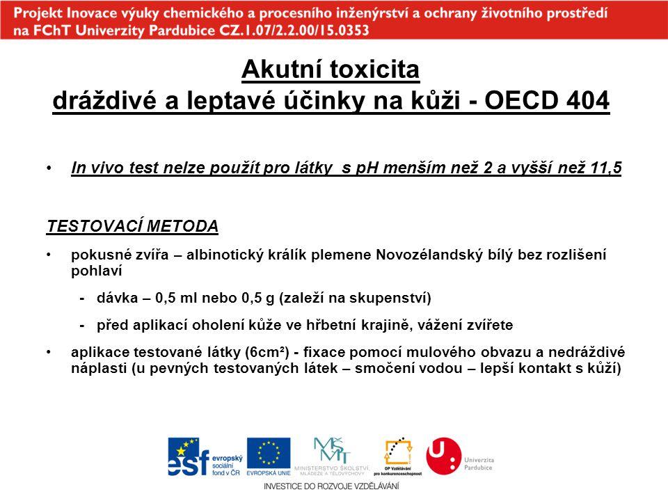 Akutní toxicita dráždivé a leptavé účinky na kůži - OECD 404 In vivo test nelze použít pro látky s pH menším než 2 a vyšší než 11,5 TESTOVACÍ METODA p